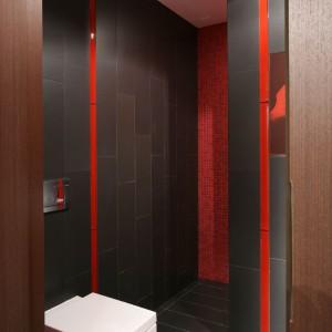 Jasna ceramika jest akcentem rozświetlającym ciemną przestrzeń łazienkową. Fot. Bartosz Jarosz.