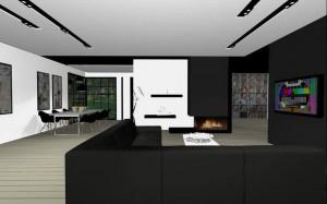 Salon w bieli i czerni.