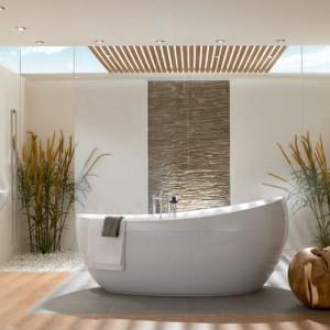 Jasne drewno podkreśla kobiecy charakter łazienki. Fot. Villeroy&Boch.