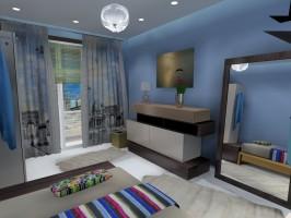 Sypialnia w błękitach.