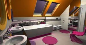 Kolorowa łazienka na poddaszu.