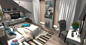 Sypialnia w stylu skandynawskim na poddaszu.