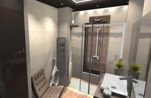Nowoczesna łazienka z dodatkiem drewna.