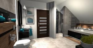 Projekt nowoczesnej łazienki na poddaszu, 1 wersja.