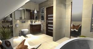Nowoczesna łazienka na poddaszu. Druga wersja.