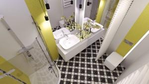 Projekt małej łazienki, gdzie głównym założeniem było odwrócenie uwagi od jej niewielkich gabarytów. Dzięki zastosowaniu żółtych akcentów w jasnej kolorystyce, podkreślonych liniami świetlymi oraz zastosowaniu luster optycznie powiększających łazienkę, storzyliśmy przestrzeń, która stała się atrakcyjna dla oka. Dodatkowo podłoga wyłożona kontastującą mozaiką potęguje wrażenie przestrzeni.