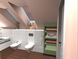 Łazienka w domu jednorodzinnym.