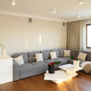 Duża wygodna kanapa narożna w salonie to idealne miejsce na odpoczynek. Projekt: Karolina Łuczyńska. Fot. Bartosz Jarosz.