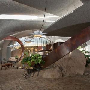 Kamień, drewno i szkło - to jadalnia rodem z przyszłości, a jednocześnie odwołująca się do naszych korzeni. Fot. Organicmodernestate.com, TKK Represents.