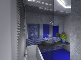 Łazienka z niebieskim akcentem.