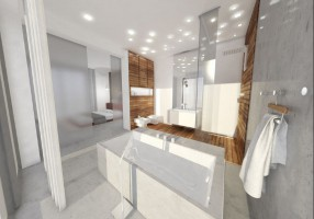 Projekt przewiduje aranżację salonu wraz z kuchnią, oraz master bedroom z łazienka. Założeniem projektantów było stworzenie wnętrza domowego z zachowaniem surowego klimatu wnętrza. Odkryty betonowy strop, rdzawy sufit czy betonowa łazienka, ocieplona jedynie elementami z drewna stwarza niepowtarzalny klimat o domowym charakterze. Smaku dodaje dobre wzornictwo mebli, wyeksponowane w przestronnych wnętrzach.