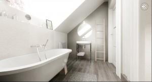 Romantyczne biele i szarości - łazienka.