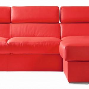 Narożnik Enzo BRW z funkcją spania i pojemnikiem na pościel, w siedzisku zastosowano sprężyny faliste, w oparciu pas tapicerski, regulacja wysokości zagłówków, stopki metalowe chromowane. Idealny do niedużych mieszkań. Cena: 5.300 zł. Fot. Black Red White.