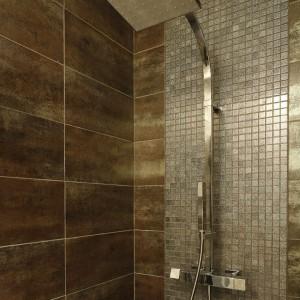 Kabina prysznicowa wykończona mozaiką, z kwadratową deszczownicą. Fot. Bartosz Jarosz.