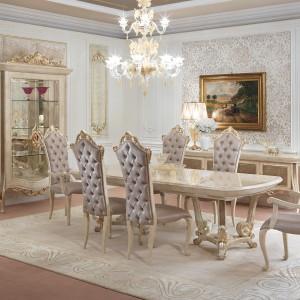 Meble do jadalni z kolekcji Baroque firmy Turri. Projekt: FabioFriso. W barokowym stylu – bogato zdobione, z licznymi elementami dekoracyjnymi.