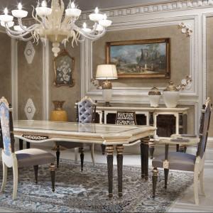 Meble do jadalni z kolekcji Bovary firmy Turri. Projekt: FabioFriso. Kolekcja w klasycznym stylu, ale z zachowaniem bardziej prostego, współczesnego wyglądu.
