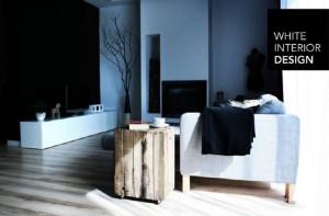 Salon - wykorzystanie dwóch starych drewnianych skrzynek jako stolika/ ozdoby.
