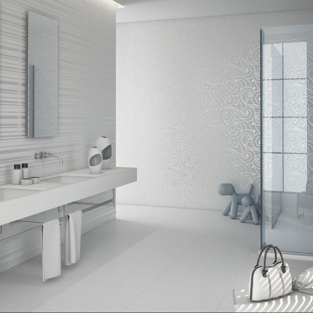 Łazienka w bieli – 12 najpiękniejszych kolekcji płytek ceramicznych