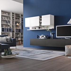 Granatowa ściana przełamuje szarości dominujące w salonie. Fot. Tomasella.