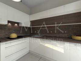 Aranżacja kuchni z cegłą pasuje zarówno do rustykalnych jak i nowoczesnych wnętrz. W projekcie cegła znajduje się nie tylko na bocznej ścianie ale i nad kuchennym blatem , należny jednak pamiętać że warto ją zabezpieczyć impregnatem :)