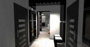 Projekt nowoczesnego , minimalistycznego wnętrza, które obejmuje salon z otwartą kuchnią, hall i przedsionek. Czarno-biała kolorystyka, beton, szkło i pomarańczowe akcenty.