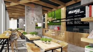 Aranżacja lokalu gastronomicznego w PPNT Gdynia. Surowe betonowe powierzchnie oraz monolityczne słupy z wbudowanymi bio – kominkami łączą się z naturalnym drewnem co nadaje indywidualnego charakteru wnętrzu. Powierzchnia sufitu belkowana sprawiająca wrażenie fali jest jedynym elementem wprowadzającym chaos w jednorodnym wnętrzu. Dla lubiących być blisko natury – dużo zieleni.