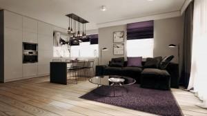 """Mieszkanie zostało zaprojektowane w stonowanej kolorystyce. Jasne drewno, biele, szarości i czernie w towarzystwie ciemnego """"brudnego """" fioletu. W Aranżacji umieszczono dużo ażurowych mebli i elementów wyposażenia – dzięki czemu całość nabrała lekkości."""
