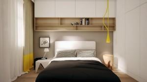 Aranżacja mieszkania z ciekawym, wyróżnionym kolorem, obniżeniem sufitowym nad kuchnią i salonem. W jednym pomieszczeniu wydzielono dwie wyraźne strefy funkcjonalne. Jasna kuchnia stanowi tło dla dużych czarnych lamp nad stołem jadalnym.