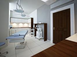 Aranżacja wnętrz kliniki medycyny estetycznej. Projekt bardzo klasyczny . Ciekawym zabiegiem stylistycznym jest połączenie dwóch rodzajów podłóg – parkietu i płytki ceramicznej. Całemu wnętrzu elegancji dodają skórzane kanapy oraz sztukaterie na ścianach.