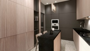 Projekt aranżacji wnętrza mieszkania opartego na ciemnej kolorystyce i dużej ilości kamienia połączonego z tkaninami , lekkością zasłon i jasnym drewnem . Duże grafiki i laminografiki to jedyne większe elementy dekoracyjne zastosowane w aranżacji.