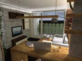 Projekt mieszkania 41m2, styl nowoczesny - pokój dzienny.