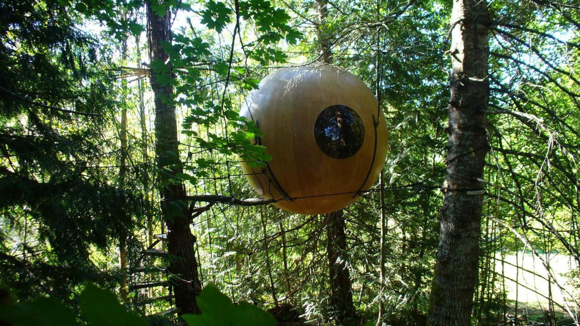 Free Spirit Spheres to niezwykłe konstrukcje nadrzewne do wynajęcia w lesie deszczowym okolic Vancouver (Kanada). Zbłąkany i szukający spokoju wędrowiec znajdzie tu luksusową samotnię tylko dla siebie. Fot. Free Spirit Spheres.