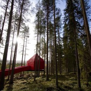 Cztery  łóżka, dwa oddzielne pokoje, łazienka, pokój dzienny - to wszystko znajdziemy w domu na drzewie o nazwie The Blue Cone. Fot. Tree Hotel, Szwecja.