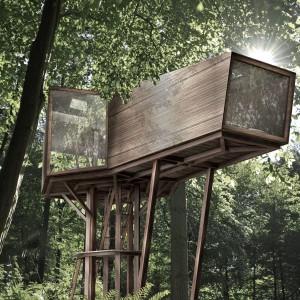 Inhabit Tree to wyjątkowy projekt nadrzewnego domu w futurystycznym stylu, a jednak blisko natury. Autor projektu: Anthony Gibbon. Fot. Anthony Gibbon