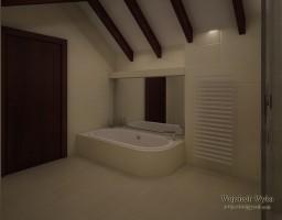 Łazienka w domu jednorodzinnym, biel z elementami drewna.