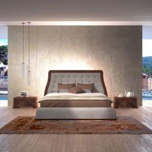 Carpanelli Contemporary.Kolekcja mebli do sypialni. Łóżko to połączenie drewna i skórzanej tapicerki. Fot.Carpanelli Contemporary.