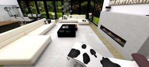 Salon domu położonego na Mazurach realizacja: Zalubska Studio Projektowanie Wnętrz