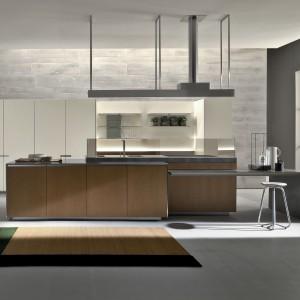 Innowacyjny model kuchni Icon od marki Ernestomeda, w którym zastosowano m.in. wysuwany z wyspy półwysep służący do spożywania posiłków. Półwysep można wysuwać do różnej długości – w zależności od potrzeb. Oddychające drzwi szafek – aluminiowa konstrukcja drzwi wyposażona jest w system wentylujący wnętrza szafek. Projekt: Giuseppe Bavuso.