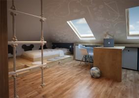 Projekt pokoju dla chłopca w wieku szkolnym.