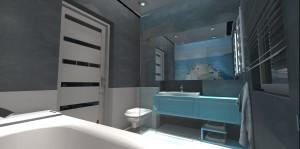 Projekt łazienki w szarościach z fototapetą.