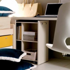 Poręczny wysuwany pojemnik jest idealny do przechowywania książek oraz rzeczy osobistych. Fot. Doimo Cityline.
