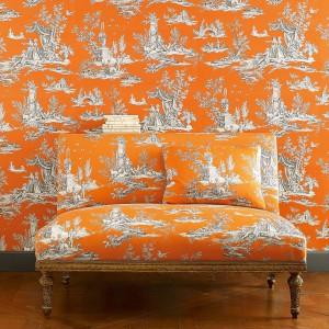 Elegancja w nowoczesnym, pomarańczowym wydaniu. Kolekcja Manuel Canovas.  Fot. Colefax and Fovler.