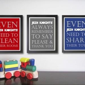 Obrazki z dobrymi radami dla młodych adeptów Jedi. Produkt do kupienia na Etsy.