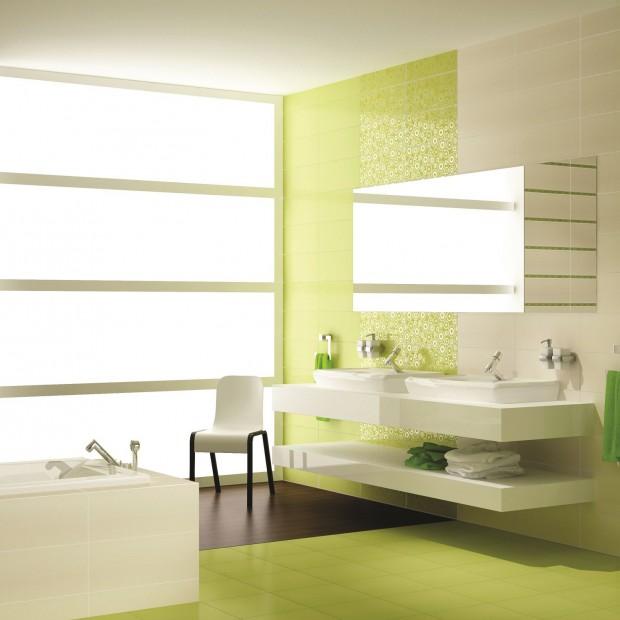 Zielone płytki do łazienki – kolor, który pobudzi do życia
