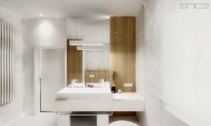 Duża dwuosobowa umywalka z dobrze oświetlonym lustrem.