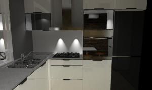 Projekt kuchni białej z czarnymi blatami.