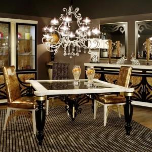 Meble będące zestawieniem złota z czernią i bielą są uosobieniem przepychu w eleganckiej formie. Fot. Muebles Lara.