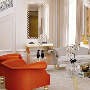 Intensywnie pomarańczowe fotele wnoszą do wnętrza odrobinę nowoczesności. Kolekcja Glamour marki Refleks. Fot. Reflex.