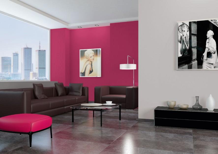 Amarantowa ściana w salonie...  Jak łączyć kolory na ścianach? 20 modnych zestawień na 2014 rok ...