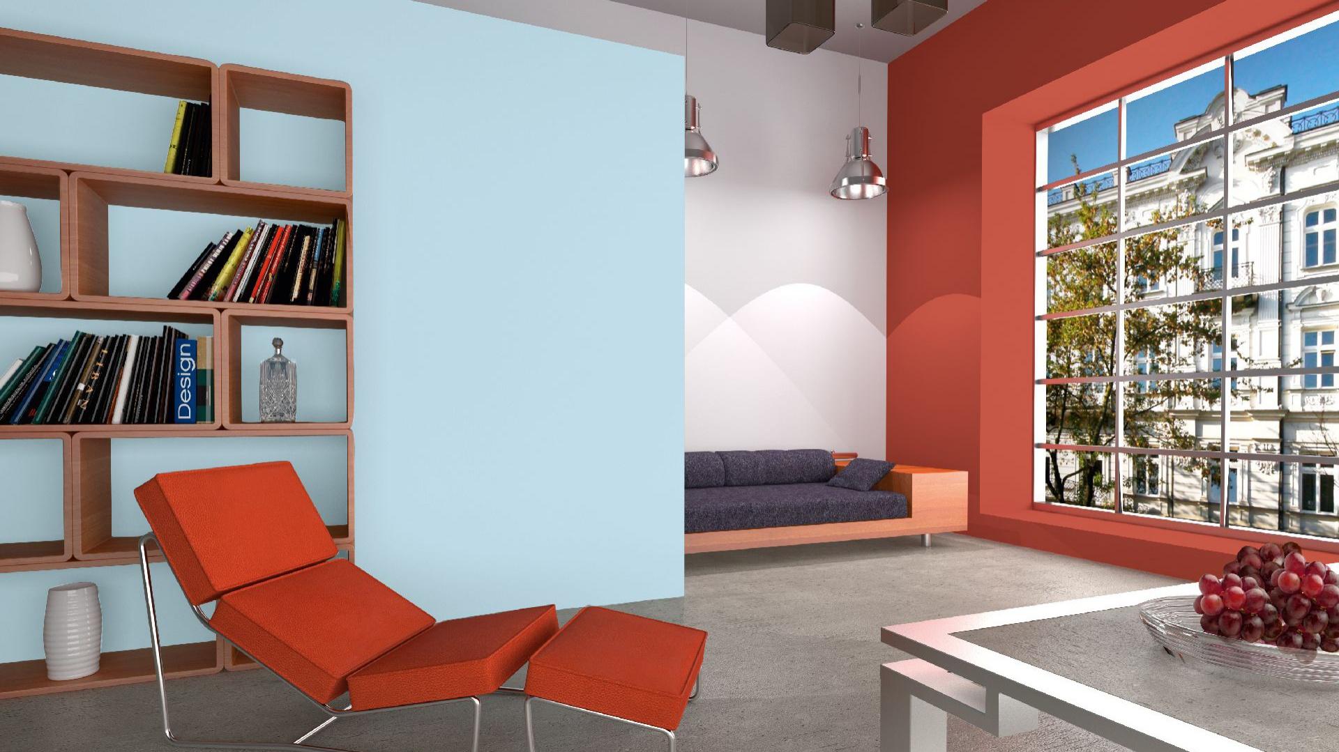 Modny ceglasty kolor to jeden z hitów tego sezonu. Zestawiamy go ze spokojnymi neutralnymi kolorami, jak szarości lub kontrastowe błękity. Fot. Dekoral.